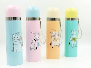 Термос стальной 500ml Animals (оранжевый, розовый, мятный, зеленый, сталь)