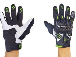 Мотоперчатки кожаные с закрытыми пальцами и протектором Alpinestars (р-р M-XL, черный-белый) - L
