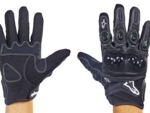Мотоперчатки кожаные с закрытыми пальцами и протектором Alpinestars (р-р M-XL, черный) - L