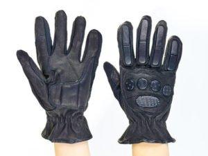 Мотоперчатки кожаные с закрытыми пальцами и протектором (р-р L-XL, черный)