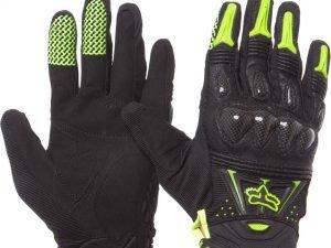 Мотоперчатки кожаные с закрытыми пальцами и протектором FOX (р-р M-XL, черный-салатовый) - XL