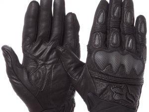 Мотоперчатки кожаные с закрытыми пальцами и протектором FOX (р-р L-XL, черный) - L