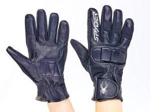 Мотоперчатки кожаные с закрытыми пальцами и протектором SPIDER (р-р L-XL, черный) - L