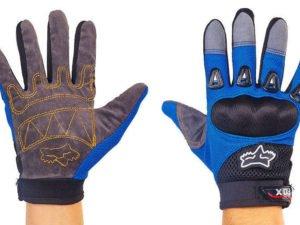 Мотоперчатки текстильные с закрытыми пальцами FOX (р-р M-L, черный-синий)