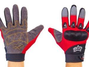 Мотоперчатки текстильные с закрытыми пальцами FOX (р-р M-L, черный-красный)
