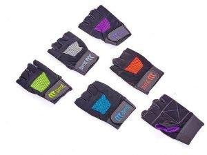 Перчатки для фитнеса MATSA (PVC, PL, открытые пальцы, р-р XS-L, салат, оранж, син) - L