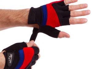 Перчатки для фитнеса Zelart (PVC, PL, открытые пальцы, р-рS-L, синий, красный, серый) - L