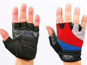 Перчатки для фитнеса Zelart (PVC, PL, открытые пальцы, р-р S-L, синий, красный, серый) - L