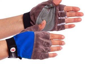 Перчатки для фитнеса женские Zelart (PL, PVC, открытые пальцы, р-р 4XS-L, красный,синий) - Синий-M
