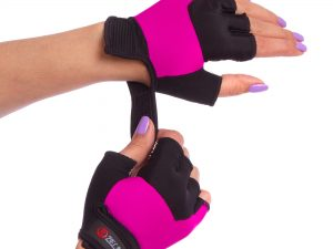 Перчатки для фитнеса женские Zelart (PVC, PL, открытые пальцы, р-р XS-M, син, розов, крас,фиол) - M