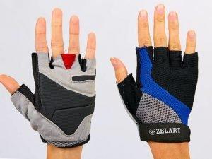 Перчатки для фитнеса женские Zelart (PVC, PL, открытые пальцы, р-р XXS-M, черный-серый-синий) - M