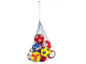 Сетка для мячей UR (полипропилен, d-2,5мм, 5 мячей, ячейка 12см, синий-белый, синий-желтый)