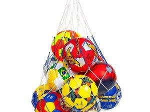 Сетка для мячей UR (полипропилен, d-3,5мм, 10 мячей, ячейка 12см, синий-белый, синий-желтый)