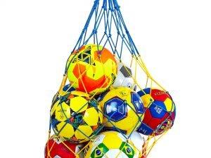 Сетка для мячей UR (полипропилен, d-4,5мм, 10 мячей, ячейка 12см, синий-белый, синий-желтый)