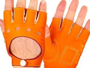 Перчатки спортивные автомобильные кожзам (откр.пал, р-р M-L, застежка кнопка, цвета в ассортименте) - Оранжевый-L