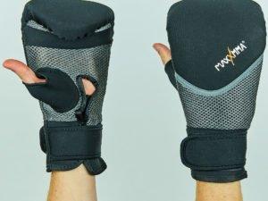 Снарядные перчатки с открытым большим пальцем неопреновые MAXXMM (р-р S-XL, черный-серый) - S-M