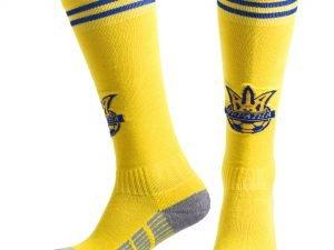 Гетры футбольные с символикой сборной Украины UKRAINE (терилен, размер 27-34, желтый-синий)