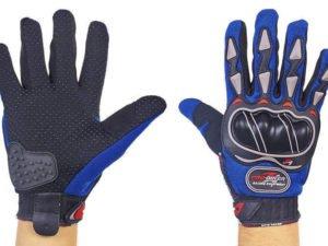 Мотоперчатки текстильные с закрытыми пальцами и протектором BIKER (р-р M-XL, синий) - XL