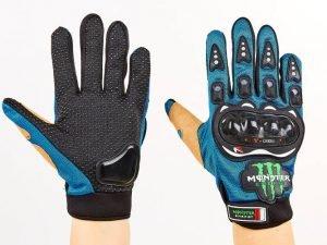 Мотоперчатки текстильные с закрытыми пальцами и протектором MONSTER (р-р M-XL, синий) - XL