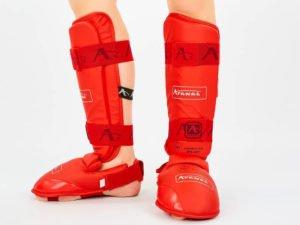 Защита голени с футами для единоборств PU Araza (размер XS-XL, красный) Replica - L