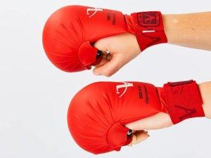 Перчатки для каратэ Araza (PU, размер XS-L, красный, манжет на резинке) Replica - L