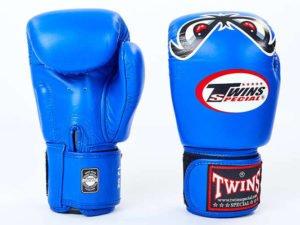 Перчатки боксерские кожаные на липучке TWINS (р-р 10-18 oz, синий) - 12 унции