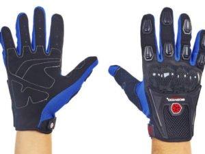 Мотоперчатки текстильные с закрытыми пальцами и протектором SCOYCO MС09-BKB (р-р M-XL, черный-синий) - XL