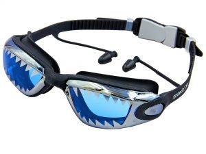 Очки для плавания с берушами в комплекте SPDO SHARK (поликарбонат, TPR, силикон, цвета в ассортименте) Replika