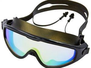 Очки-полумаска для плавания с берушами в комлекте SPDO (поликарбонат, TPR, силикон, зеркальные, цвета в ассортименте) Replika - Цвет Черный