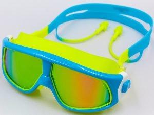 Очки-полумаска для плавания с берушами в комлекте SPDO (поликарбонат, TPR, силикон, цвета в ассортименте) Replika - Цвет Голубой-желтый