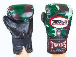 Снарядные перчатки кожаные TWINS (р-р M-XL, зеленый камуфляж) - L