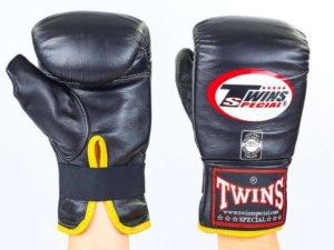 Снарядные перчатки кожаные TWINS (р-р M-XL, черный) - M