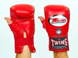 Снарядные перчатки кожаные TWINS (р-р M-XL, красный) - L