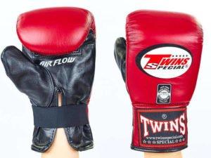 Снарядные перчатки кожаные TWINS (р-р M-XL, бордовый) - M
