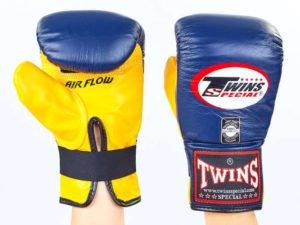 Снарядные перчатки кожаные TWINS (р-р M-XL, синий-желтый) - L