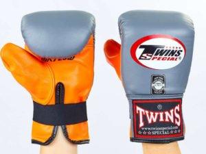 Снарядные перчатки кожаные TWINS (р-р M-XL, серый-оранжевый) - M