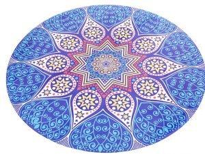 Коврик для йоги круглый Замшевый каучуковый двухслойный с чехлом 3мм Record (диаметр 150см, синий-белый, с принтом Возрождение)