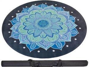 Коврик для йоги круглый Замшевый каучуковый двухслойный с чехлом 3мм Record (диаметр 150см, черный-голубой, с принтом Ледяной Цветок)