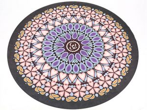 Коврик для йоги круглый Замшевый каучуковый двухслойный с чехлом 3мм Record (диаметр 150см, черный-белый)