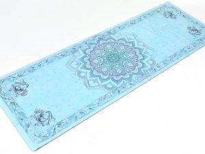 Коврик для йоги Замшевый каучуковый двухслойный 3мм Record (размер 1,83мx0,61мx3мм, голубой, с принтом Цветок Жизни)