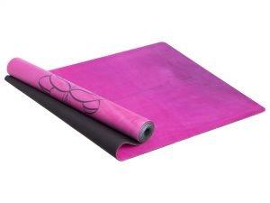 """Коврик для йоги Замшевый каучуковый двухслойный 3мм Record (размер 1,83мx0,61мx3мм, голубой-розовый, с принтом """"Я – это любовь"""")"""