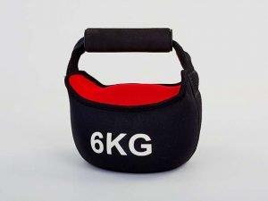 Гиря мягкая неопреновая 6кг (верх-неопрен, минеральный наполнитель, черный-красный)