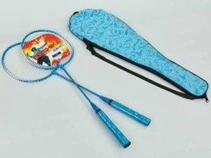 Набор для бадминтона 2 ракетки в чехле BOSHIKA (сталь, голубой, красный, салатовый)