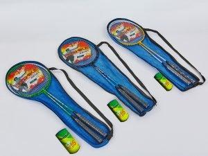 Набор для бадминтона 2 ракетки и 1 волан в чехле BOSHIKA (сталь, цвета в ассортименте)