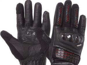 Мотоперчатки кожаные с закрытыми пальцами и протектором NERVE (р-р M-XL, черный) - M