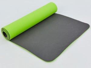 Коврик для фитнеса и йоги TPE+TC 6мм двухслойный SP-Planeta (размер 1,83мx0,61мx6мм, салатовый-т.серый)