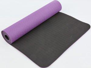 Коврик для фитнеса и йоги TPE+TC 6мм двухслойный SP-Planeta (размер 1,83мx0,61мx6мм, фиолетовый-черный)