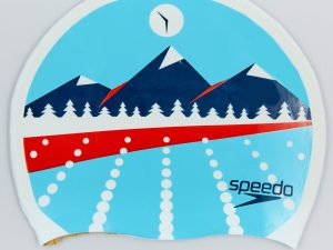 Шапочка для плавания SPEEDO SLOGAN PRINT LIGHT ADRIATIC (силикон, голубой)