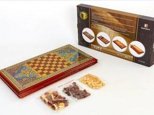 Нарды, шахматы 2 в 1 набор настольных игр деревянные BAKU (р-р доски 52см x 56см)