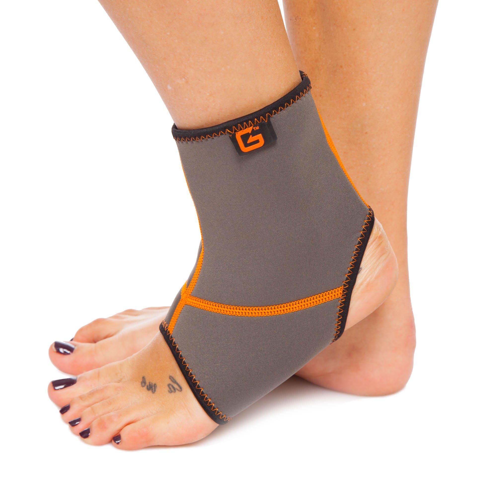 Голеностоп (бандаж голеностопного сустава) неопреновый (1шт) (NY, каучук,р-р S-XL,серый-оранжевый)